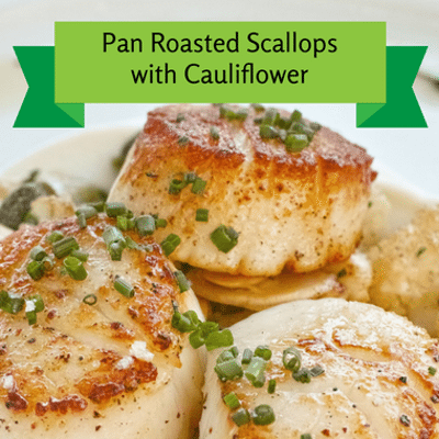 The Chew: Pan Roasted Scallops + Cauliflower, Raisins & Pine Nuts