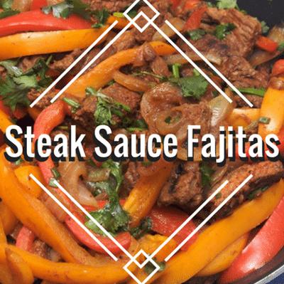 Rachael Ray: Steak Sauce Fajitas + Blue Cheese & Bacon Bits